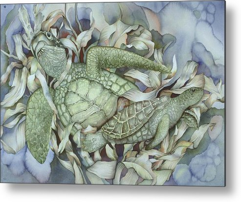 Sea Metal Print featuring the painting Sea Turtles Mum And Babe by Liduine Bekman
