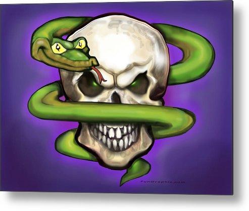 Serpent Metal Print featuring the digital art Serpent Evil Skull by Kevin Middleton