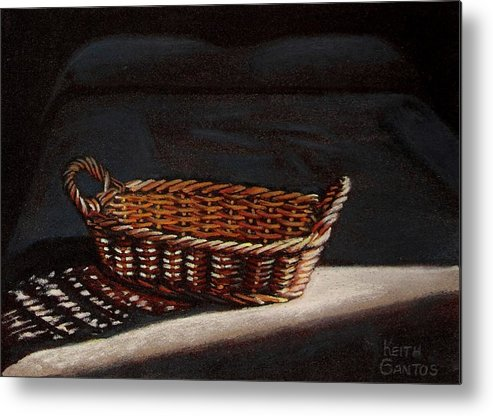 Basket Metal Print featuring the drawing She Is Sleeping by Keith Gantos