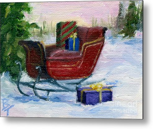 Sleigh Metal Print featuring the painting Sleigh Aceo by Brenda Thour