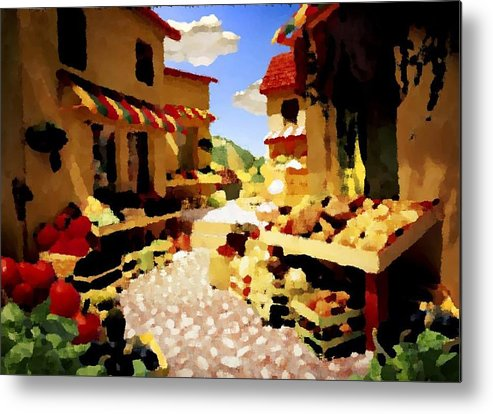 Market.town.street.road.houses.shadow.things For Sale.heat.rest.silence. Metal Print featuring the digital art small urban market on Capri island by Dr Loifer Vladimir