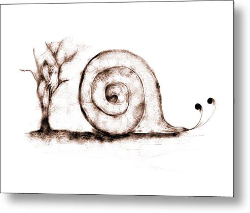 Tree Metal Print featuring the digital art Snail by Lilianna Hakhverdyan