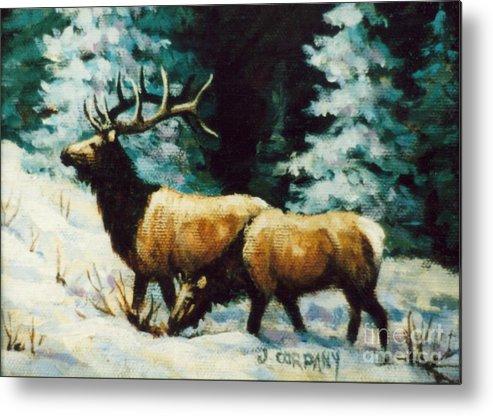 Elk Metal Print featuring the painting Snow Elk by JoAnne Corpany
