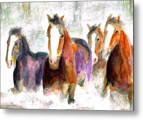 Horses Metal Print featuring the painting Snow Horses by Frances Marino