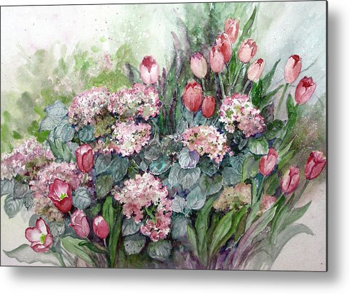 Tulips;spring;hydrangea;floral;flowers;watercolor Painting; Metal Print featuring the painting Spring Forth In Beauty by Lois Mountz