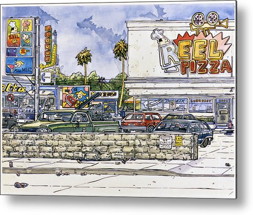 Karl Metal Print featuring the painting Sticker Landscape 2 Parking Lot by Karl Frey