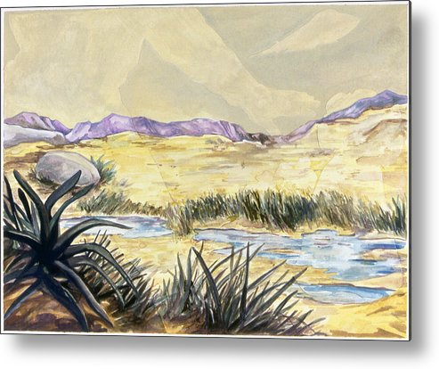 Karl Metal Print featuring the painting Sticker Landscape 3 Desert by Karl Frey
