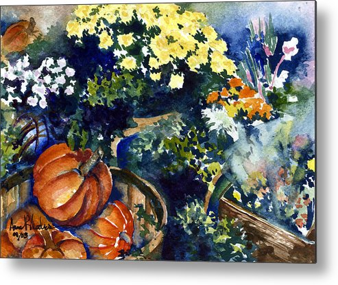 Floral Metal Print featuring the painting Street Garden by Anne Rhodes
