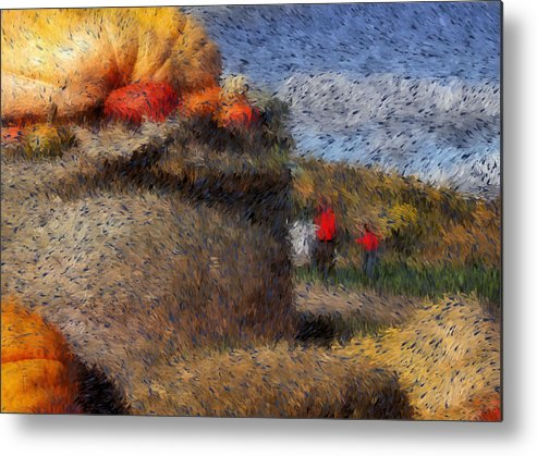 Digital Painting Metal Print featuring the digital art Strolling Through Autumn by Tingy Wende