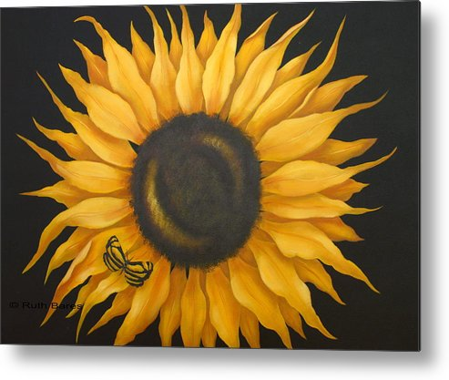Floral Metal Print featuring the painting Sunflower And Butterfly by Ruth Bares