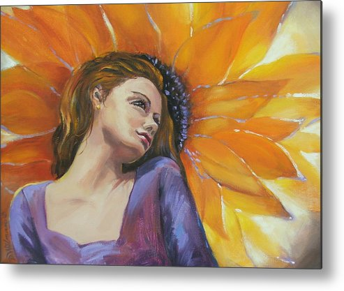 Female Metal Print featuring the painting Sunny by Dianna Willman