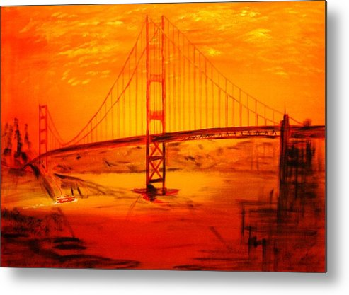 Sunset At Golden Gate Metal Print featuring the painting Sunset At Golden Gate by Helmut Rottler