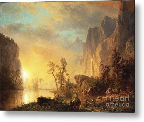 Bierstadt Metal Print featuring the painting Sunset In The Rockies by Albert Bierstadt