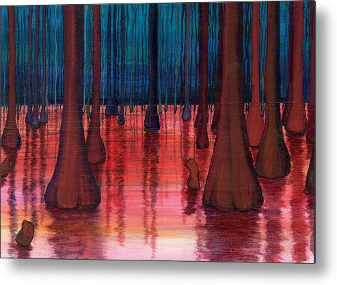 Landscsape Metal Print featuring the painting Swamp Veins by Kim Nelson