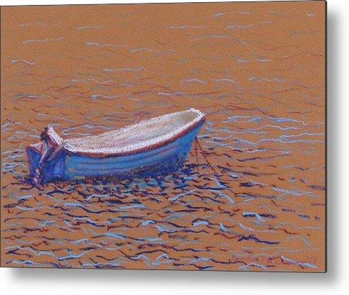Boat Metal Print featuring the pastel Swedish Boat by Art Nomad Sandra Hansen