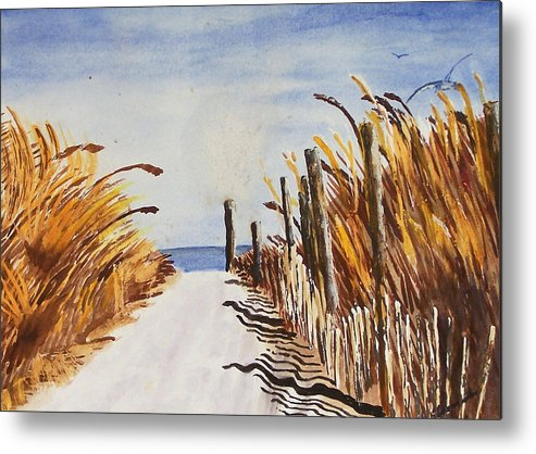 Beach Metal Print featuring the painting Tall Grass With Drift Fence by Robert Thomaston