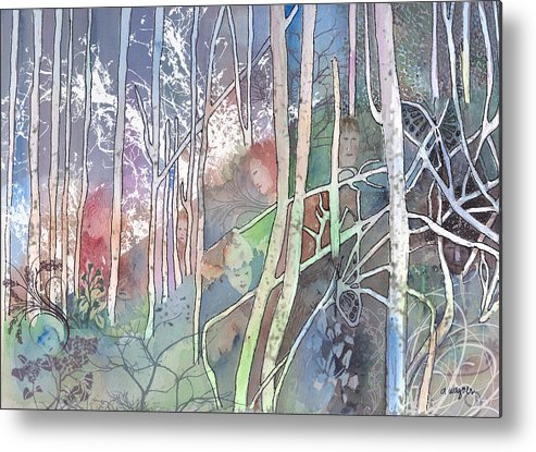 Forest Metal Print featuring the mixed media Ten Faces In The Mystical Forest by Arline Wagner