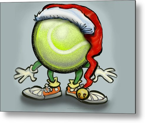 Tennis Metal Print featuring the greeting card Tennis Christmas by Kevin Middleton