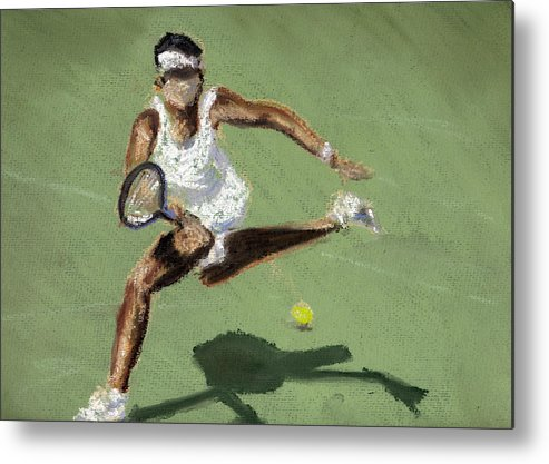 Pastels Metal Print featuring the pastel Tennis In The Sun by Paul Mitchell