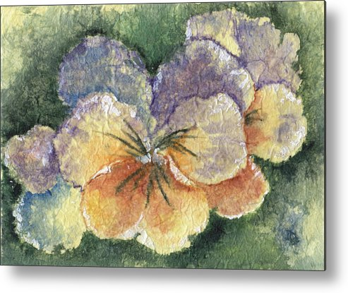 Pansy Metal Print featuring the painting Textured Pansy by Marsha Elliott