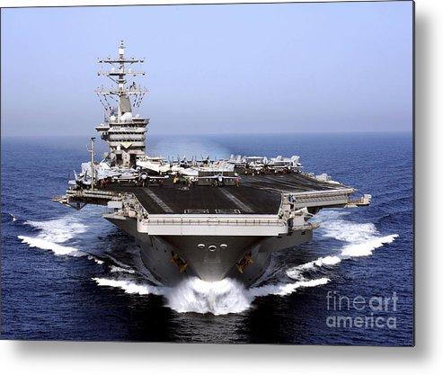 Flight Deck Metal Print featuring the photograph The Aircraft Carrier Uss Dwight D by Stocktrek Images