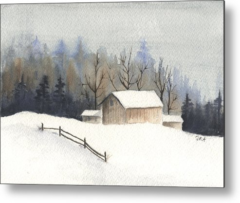 Barn Metal Print featuring the painting The Barn by Jan Anderson