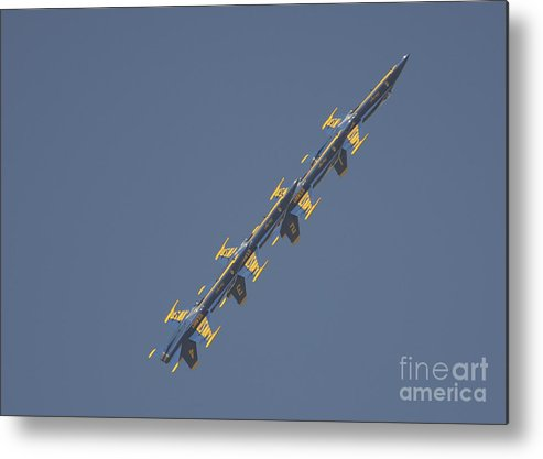 The Blue Angels Metal Print featuring the painting the Blue Angels performs the Left Echelon Roll by Celestial Images