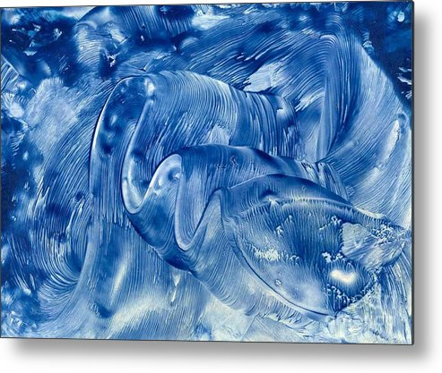 Abstract Metal Print featuring the painting The Blue Wave by Heather Hennick