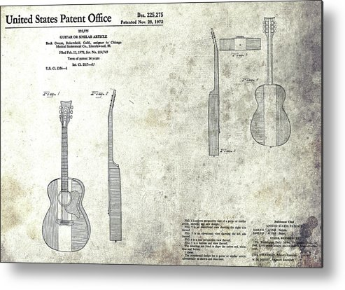Buck Owens Guitar Patent Metal Print featuring the mixed media The Buck Owens Guitar Design by Dan Sproul