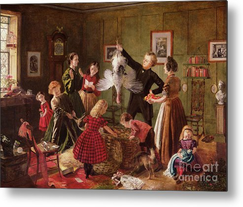 The Metal Print featuring the painting The Christmas Hamper by Robert Braithwaite Martineau