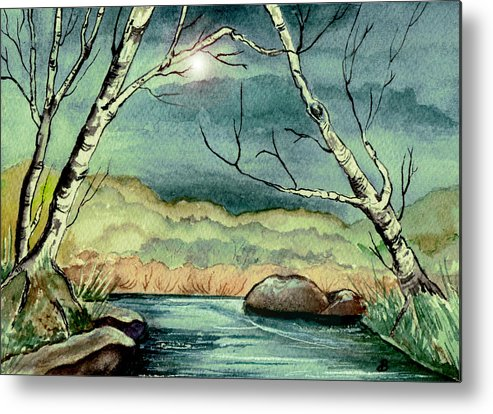 Watercolor Metal Print featuring the painting The Coming Storm by Brenda Owen