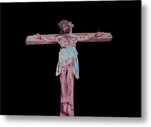 Crucifixion Metal Print featuring the painting The Crucifixion by Stan Hamilton
