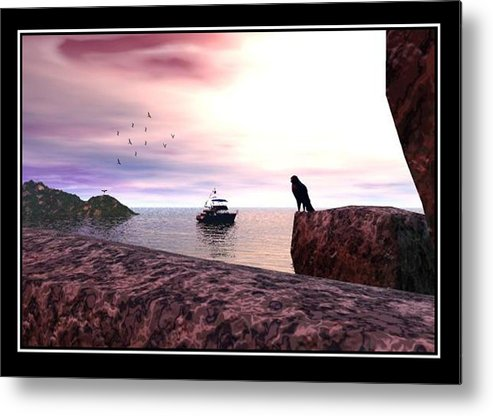 Falcon Landscape Seascape Beach Rocks Photo Print Canvas Realism Sky Williamballester Metal Print featuring the digital art The Falcon At The Beach by William Ballester