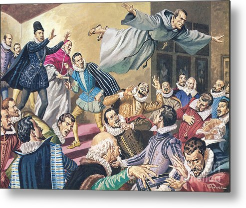 Flight Metal Print featuring the painting The Flight Of Father Dominic by English School