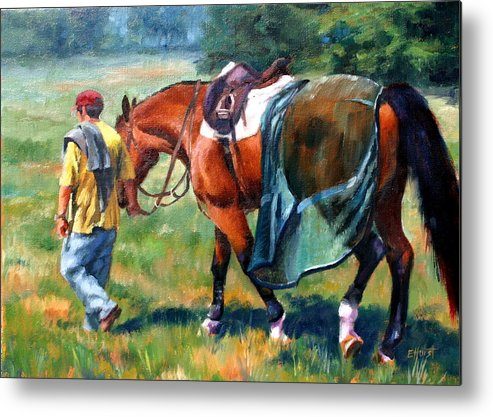Equine Paintings Metal Print featuring the painting The Groom by Elaine Hurst