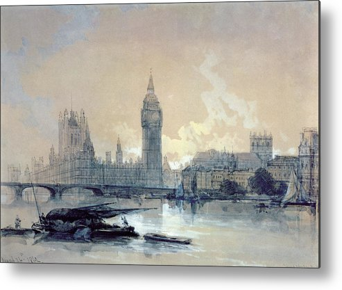The Metal Print featuring the painting The Houses Of Parliament by David Roberts