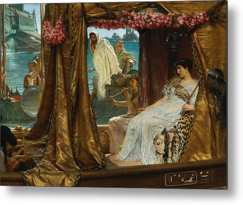 Lawrence Alma-tadema Metal Print featuring the digital art The Meeting Of Antony And Cleopatra By Lawrence Alma-tadema by Sarah Vernon