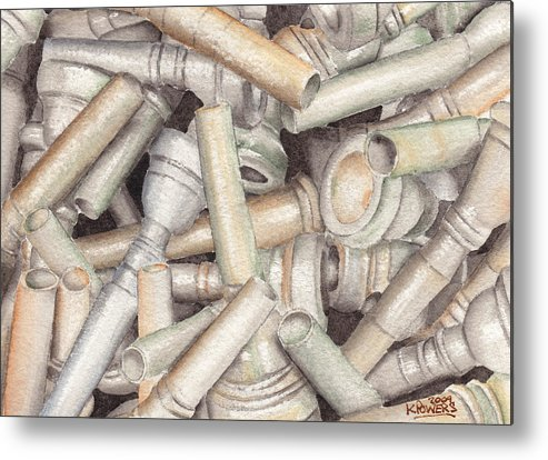 Brass Metal Print featuring the painting The Mouthpiece Jumble Experiment by Ken Powers