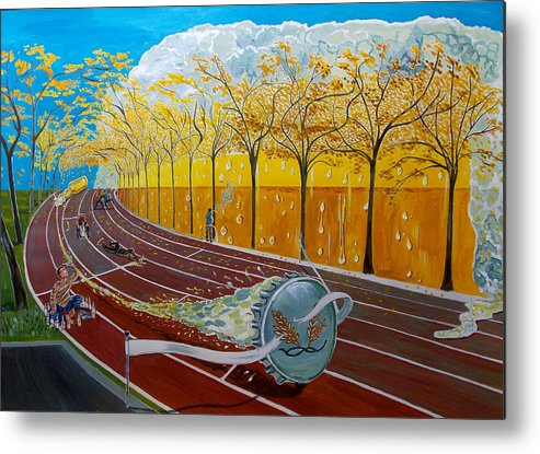 Surreal Metal Print featuring the painting The Race Of Tumbles by Lazaro Hurtado