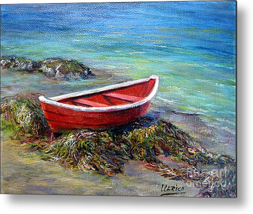 Boat Metal Print featuring the painting The Red Boat by Jeannette Ulrich