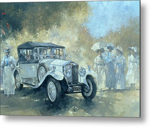 Vintage Car Metal Print featuring the painting The White Tourer by Peter Miller