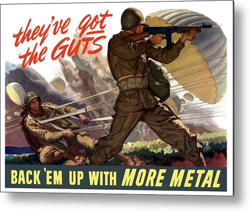 Airborne Metal Print featuring the painting They've Got The Guts by War Is Hell Store