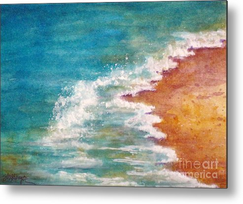 Seascape Metal Print featuring the painting Tide Rushing In by Suzanne Krueger