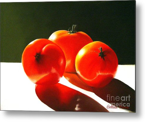 Red Metal Print featuring the painting Tomayta Tomato by Colleen Brown