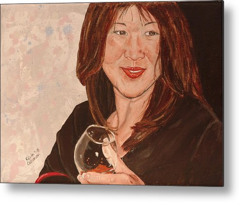 Brandy Metal Print featuring the painting Tracey Comes To Dinner by Kevin Callahan