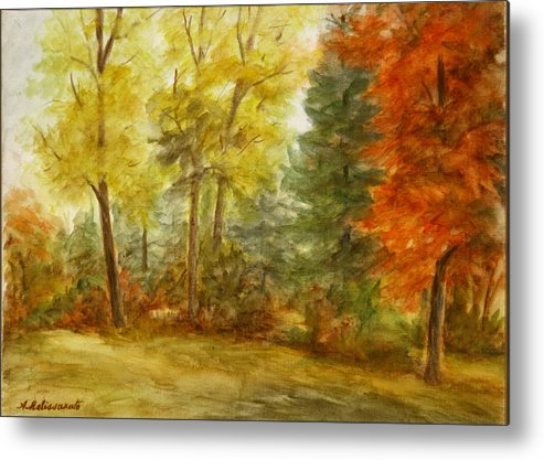 Landscape Metal Print featuring the painting Trees At Fall by Artemis Melissarato