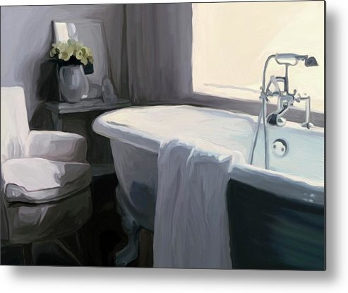 Tub Metal Print featuring the painting Tub In Grey by Patti Siehien