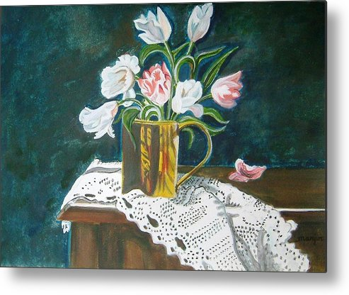 Tulips Metal Print featuring the painting Tulips by Manjiri Kanvinde