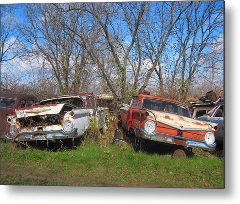 1959 Ford Metal Print featuring the photograph Twin '59's by Rich Brandt