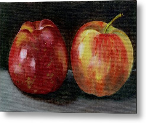 Oil Metal Print featuring the painting Two Apples by Sarah Lynch